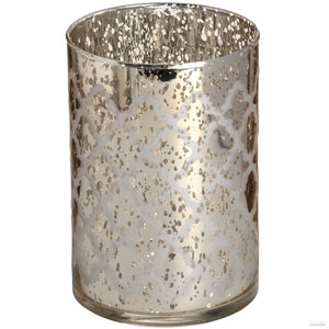 Silver Glass Arabesque Tealight Holder in Speckle Effect - LUXE Home Interiors