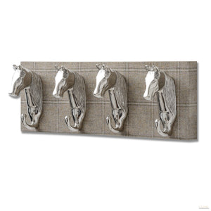 Barn Owl Yorkshire Tweed with Four Horse Head Coat hooks - LUXE Home Interiors