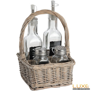 Washed Grey Square Condiment Basket in Willow - LUXE Home Interiors