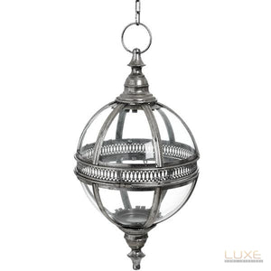 Antique Silver Hanging Glass Sphere - LUXE Home Interiors