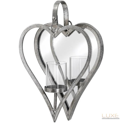 Small Antique Silver Mirrored Heart Candle Holder - LUXE Home Interiors