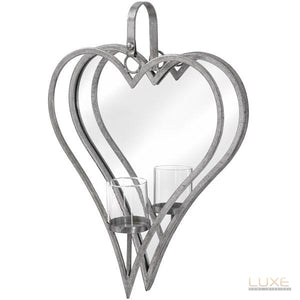 Large Antique Silver Mirrored Heart Candle Holder - LUXE Home Interiors