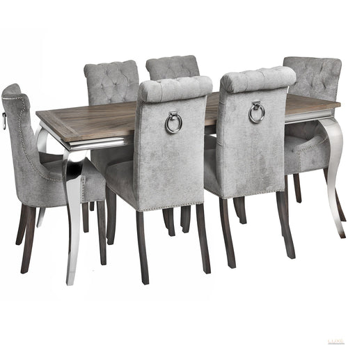 Silver High Wing Ring Backed Dining Chair - LUXE Home Interiors