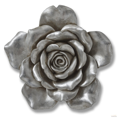 Antique Silver Wall Hanging Flower - LUXE Home Interiors