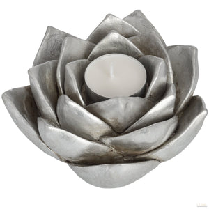 Antique Silver Lotus Flower Candle Holder - LUXE Home Interiors