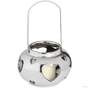 Round Heart Design Silver Ceramic Candle Lantern - LUXE Home Interiors