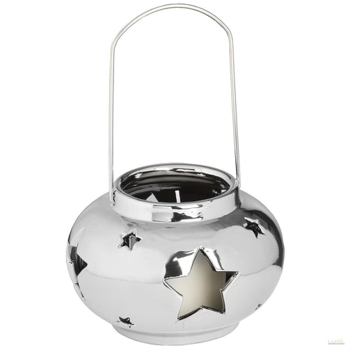 Round Star Design Silver Ceramic Candle Lantern - LUXE Home Interiors