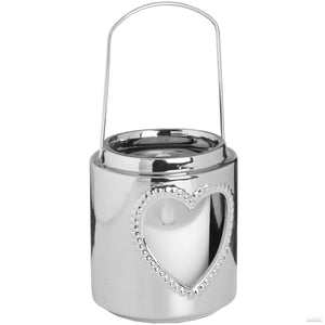 Large Silver Ceramic Heart Candle Lantern - LUXE Home Interiors