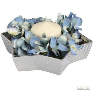 Medium Silver Ceramic Star Display Dish With Dimple Effect - LUXE Home Interiors