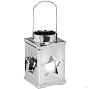 Silver Ceramic Star Candle Holder With Handle - LUXE Home Interiors