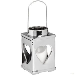Silver Ceramic Heart Candle Holder with Handle - LUXE Home Interiors
