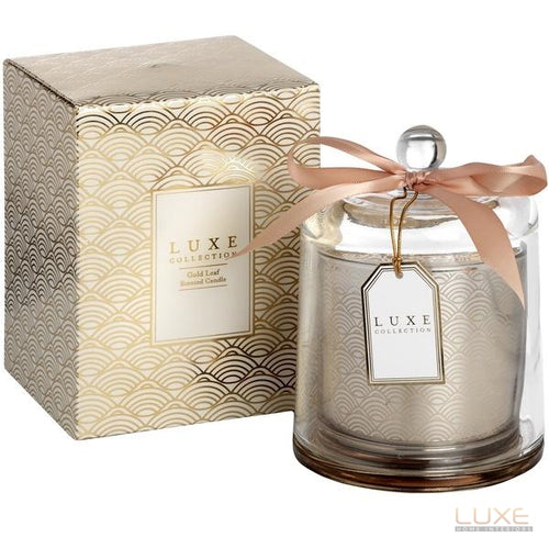 Gold Leaf Large Candle With Cloche By Luxe Collection - LUXE Home Interiors