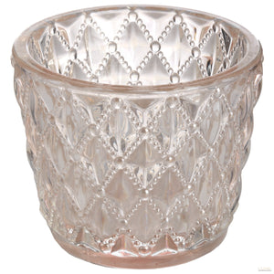 Small Diamond Design Pink Tealight Holder - LUXE Home Interiors