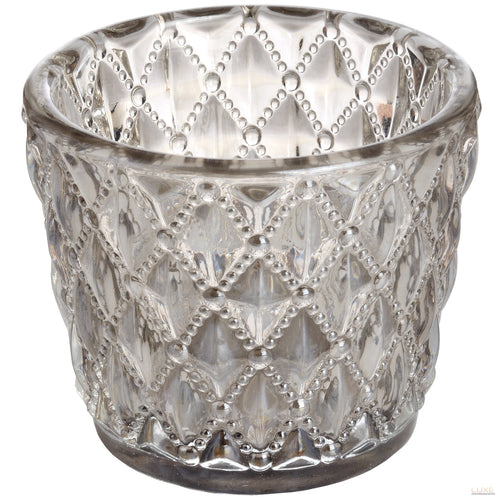 Small Diamond Design Grey Tealight Holder - LUXE Home Interiors