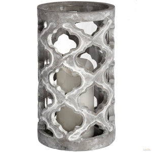 Large Stone Effect Patterned Candle Holder - LUXE Home Interiors