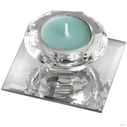 Single Glass Tealight Holder on Mirrored Base - LUXE Home Interiors
