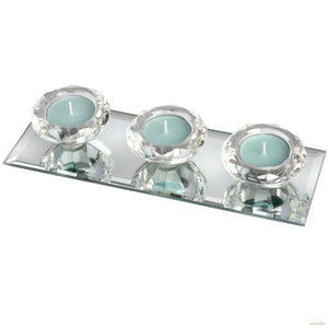 Set of Three Glass Tealight Holders on Mirrored Base - LUXE Home Interiors