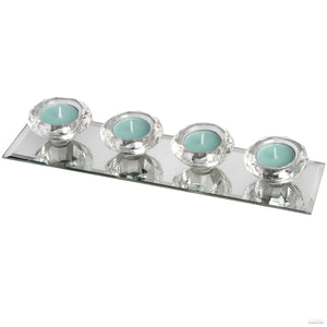 Set of Four Glass Tealight Holders on Mirrored Base - LUXE Home Interiors