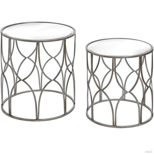 Set Of Two Lattice Detail Silver Side Table - LUXE Home Interiors