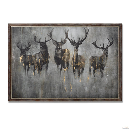 Large Curious Stag Painting on Wood with Frame - LUXE Home Interiors