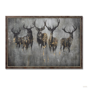 Large Curious Stag Painting on Wood with Frame