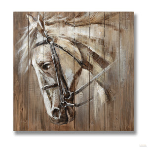 War Horse Painting on Wood