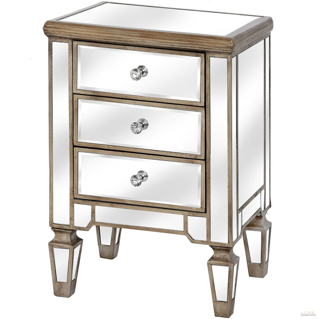 The Belfry Collection Three Drawer Mirrored Bedside - LUXE Home Interiors