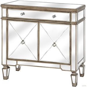 The Belfry Collection One Drawer Two Door Mirrored Cupboard - LUXE Home Interiors