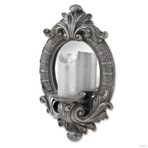 Antique Silver Decorative Candle Mirror - LUXE Home Interiors