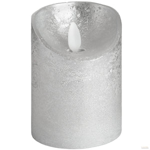 Luxe Collection 3 x 4 Silver Flickering Flame LED Wax Candle - LUXE Home Interiors