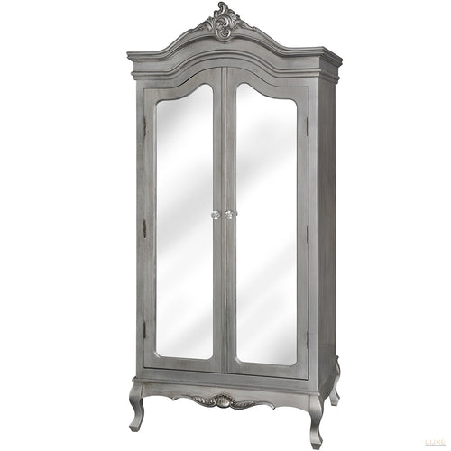 Estelle Collection Silver Leaf Double Wardrobe - LUXE Home Interiors
