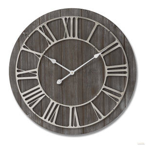 Wooden Clock With Contrasting Nickel Detail - LUXE Home Interiors