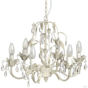 Crystal Effect Drop with Leaf Motif Chandelier - LUXE Home Interiors