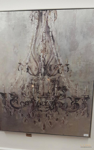 Framed Metalic Chandelier Wall Art With Diamantes - LUXE Home Interiors