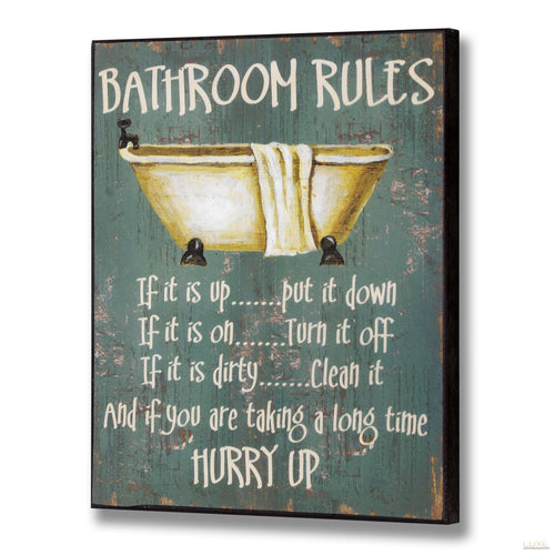 Bathroom Rules Plaque