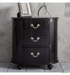 Safari Oval Bedside Chest Ebony - LUXE Home Interiors