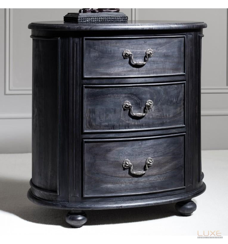 Safari Oval Bedside Chest Charcoal - LUXE Home Interiors