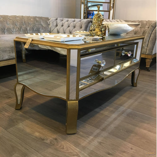 Venetian Mirrored 2 Drawer Coffee Table - LUXE Home Interiors