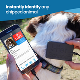 PetScanner microchip reader and app showing a dog as lost