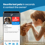 PetScanner app showing lost dog and owner contact details