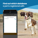 PetScanner app showing database contact details after scanning a dog