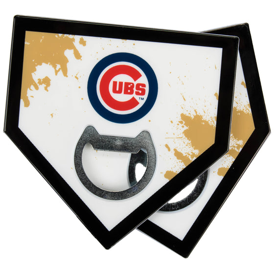 Chicago Cubs Home Plate Bottle Opener Coasters
