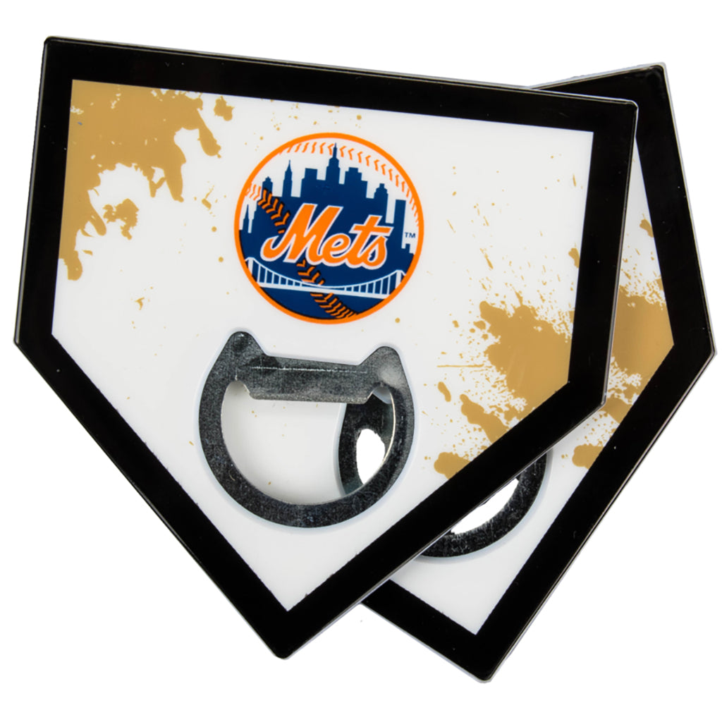 New York Mets Home Plate Bottle Opener Coasters