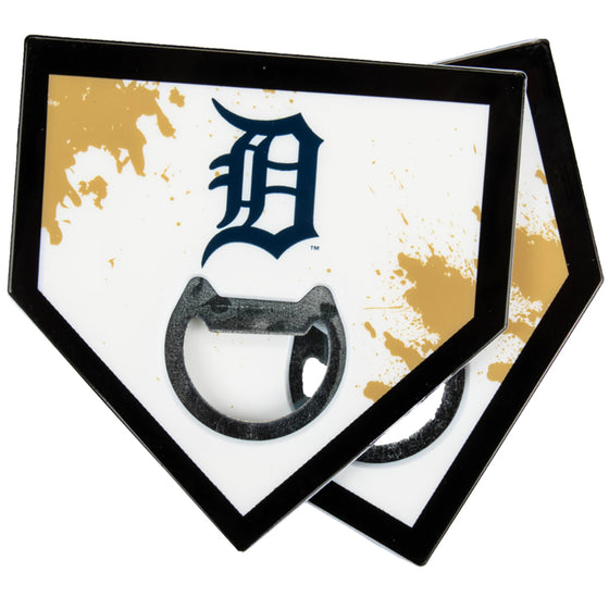 Detroit Tigers Home Plate Bottle Opener Coasters