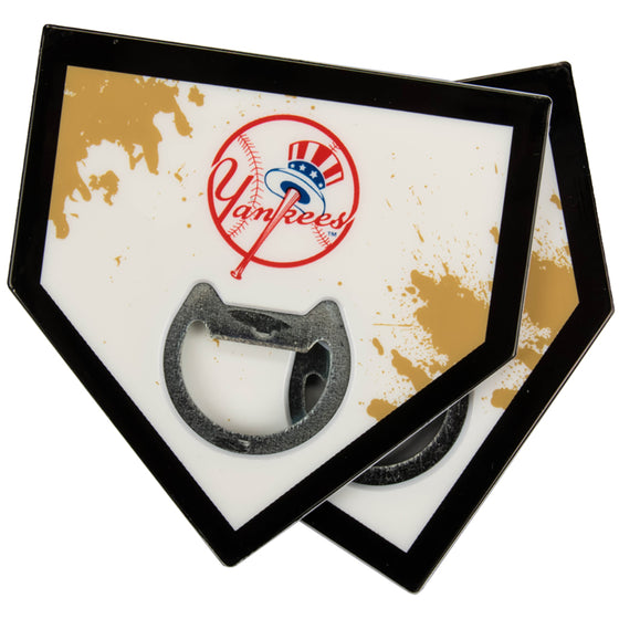 New York Yankees Home Plate Bottle Opener Coasters