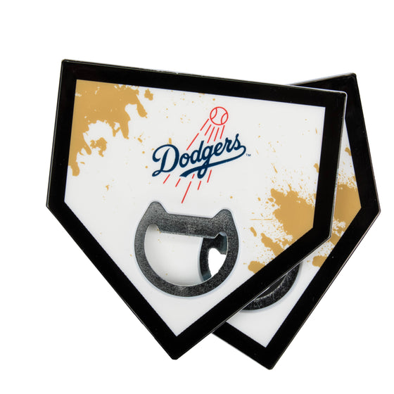 Los Angeles Dodgers Home Plate Bottle Opener Coasters