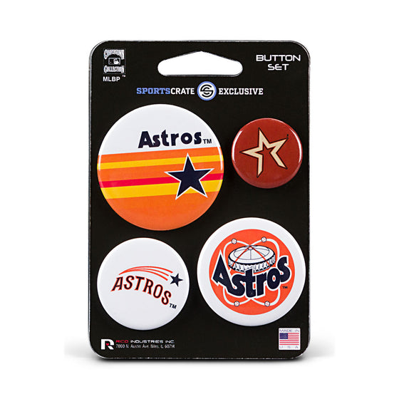 Houston Astros Retro Button 4 Pack