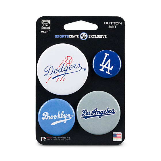 Los Angeles Dodgers Retro Button 4 Pack