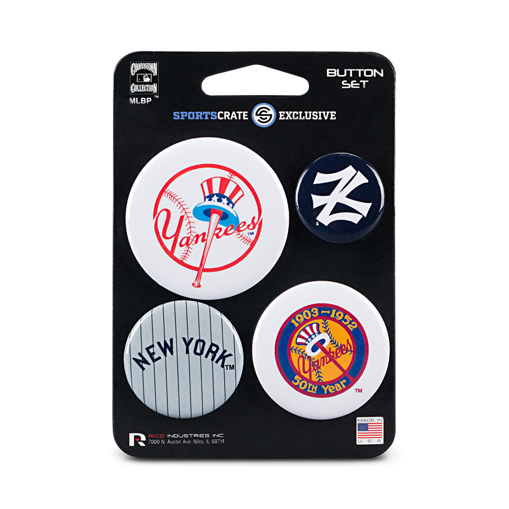 New York Yankees Retro Button 4 Pack