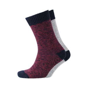 Edson Boot Socks - Burgundy/Grey 2pk